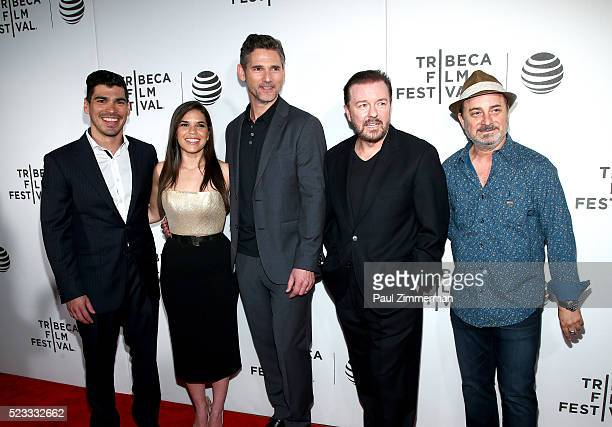 Raul Castillo America Ferrera Eric Bana Ricky Gervais and Kevin Pollak attend the Tribeca Talks After The Movie 'Special Correspondents' 2016 Tribeca...
