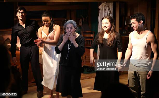 Raul Castillo Danielle Davenport Socorro Santiago Carmen Zilles and Jose Joaquin Perez during the curtain call for 'Adoration of the Old Woman' at...