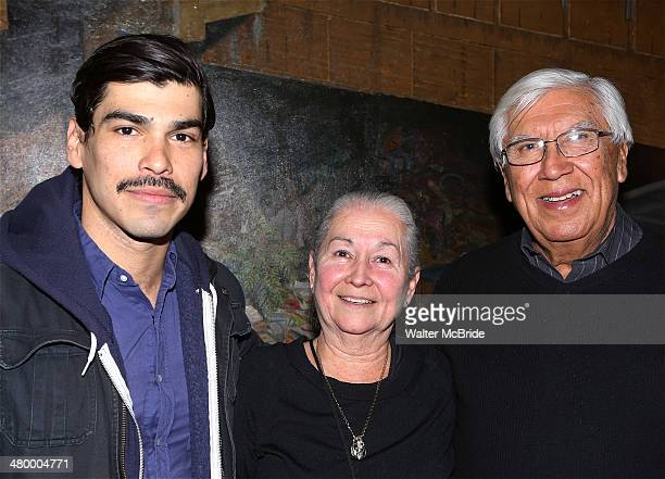 Raul Castillo from HBO's 'Looking' with his parents backstage after a performance in 'Adoration of the Old Woman' at Intar Theater on March 21 2014...