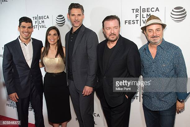 Raul CastilloAmerica Ferrera Eric Bana Ricky Gervais and Kevin Pollak attend Tribeca Talks After The Movie 'Special Correspondents' during the 2016...