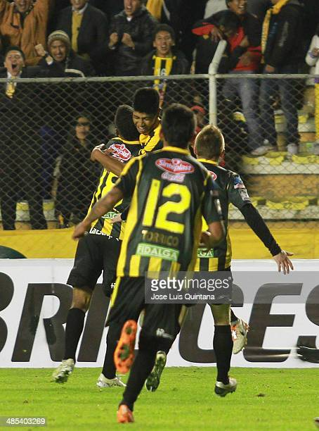Raul Castro of The Strongest celebrates a scored goal during a match between The Strongest and Defensor Sporting as part of the Copa Bridgestone...