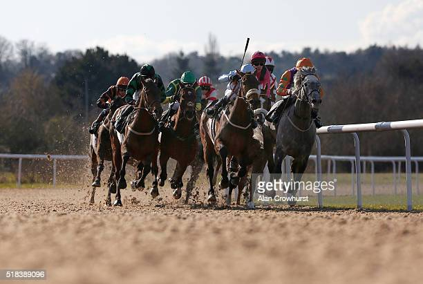 Raul Da Silva riding Whisky Marmalade win The Find Us On Facebook Wolverhampton Racecourse Handicap Stakes at Wolverhampton racecourse on March 31...