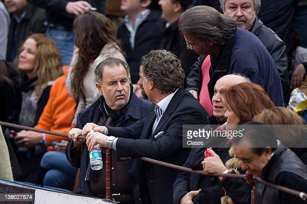 Raul de Molina and Elias Sacal enjoy the show during the bullfight season 20112012 at the Plaza de Toros Mexico on January 29 2012 in Mexico City...