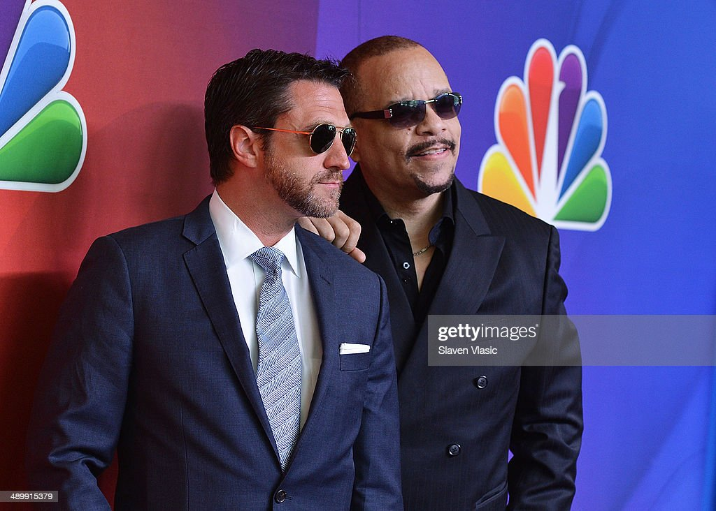 Raul Esparza (L) and Ice-T attend the 2014 NBC Upfront Presentation at The Jacob K. Javits Convention Center on May 12, 2014 in New York City.
