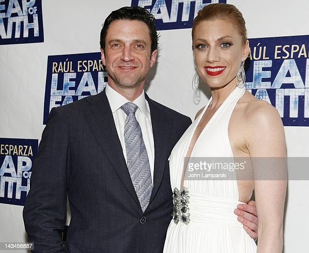 Raul Esparza and jessica Phillips attend the 'Leap Of Faith' Broadway Opening Night After Party at Copacabana on April 26 2012 in New York City