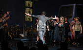Raul Esparza Company during the Broadway Opening Night Curtain Call for the 'Leap Of Faith' at the St James Theatre on 4/26/2012 in New York City