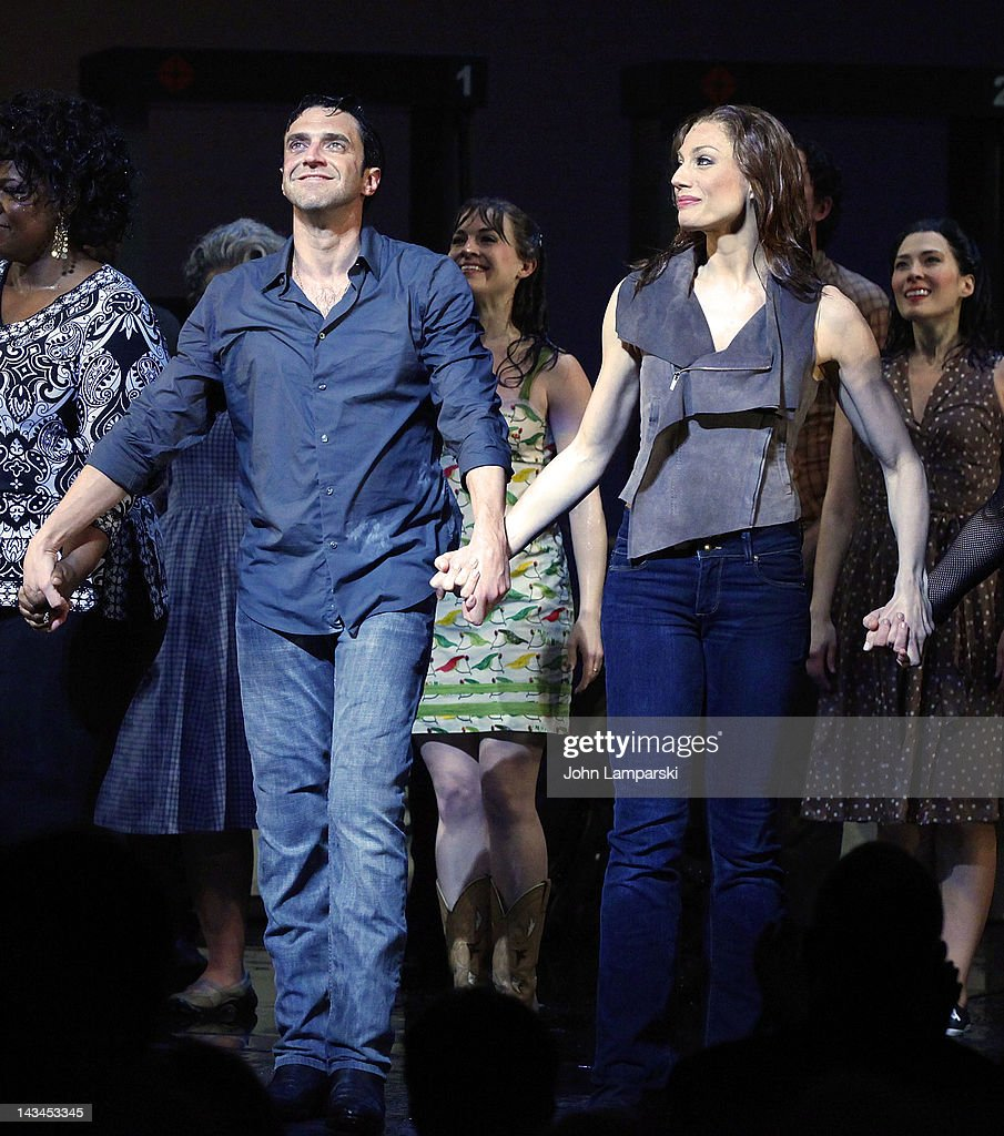 Raul Esparza Jessica Phillips and cast attend the 'Leap Of Faith' Broadway Opening Night at St James Theatre on April 26 2012 in New York City