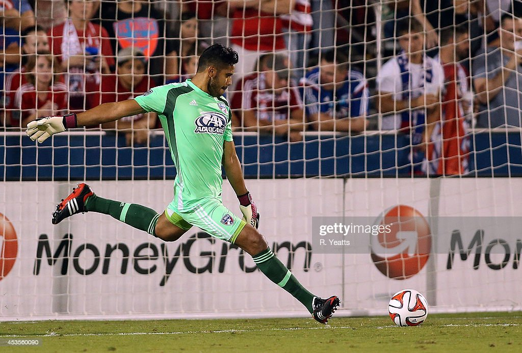 Raul Fernandez #1 of FC Dallas kicks the ball against the New England Revolution at Toyota Stadium on July 19, 2014 in Frisco, Texas.