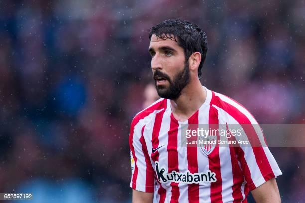 Raul Garcia of Athletic Club Bilbao reacts during the La Liga match between Real Sociedad de Futbol and Athletic Club Bilbao at Estadio Anoeta on...