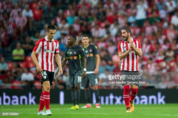 Raul Garcia of Athletic Club celebrates after scoring during the UEFA Europa League Third Qualifying Round Second Leg match between Athletic Club and...