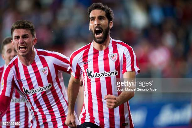 Raul Garcia of Athletic Club celebrates after scoring goal during the La Liga match between SD Eibar and Athletic Club at Ipurua Municipal Stadium on...