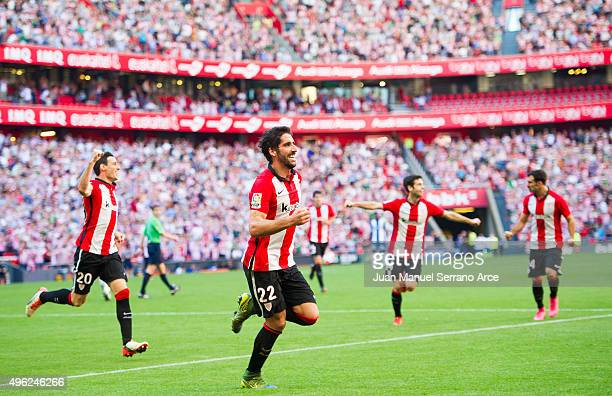 Raul Garcia of Athletic Club celebrates after scoring his team's second goal during the La Liga match between Athletic Club and RCD Espanyol at San...
