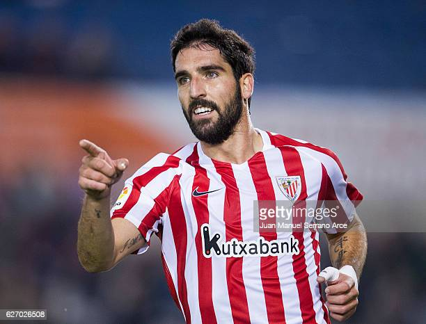 Raul Garcia of Athletic Club celebrates after scoring his team's second goal during the Copa del Rey Round of 32 match between Racing Santander and...
