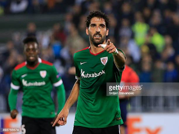 Raul Garcia of Athletic Club celebrates scoring a goal during the UEFA Europa League match between FK Partizan v Athletic Club at Stadium FK Partizan...