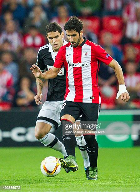 Raul Garcia of Athletic Club duels for the ball with AFabricio of FK Partizan during the UEFA Europa League match between Athletic Club and FK...