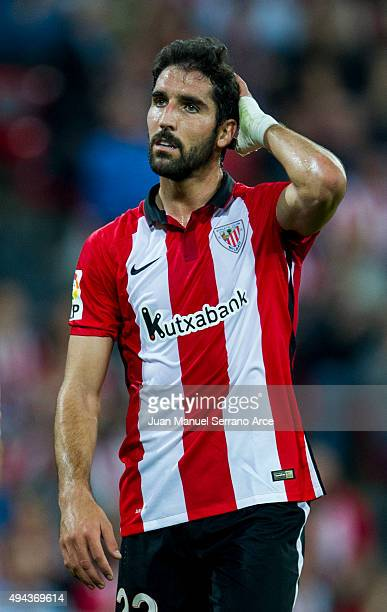 Raul Garcia of Athletic Club reacts during the La Liga match between Athletic Club and Real Sporting de Gijon at San Mames Stadium on October 26 2015...