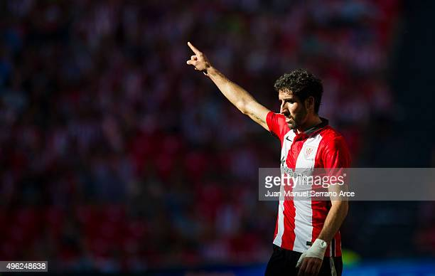 Raul Garcia of Athletic Club reacts during the La Liga match between Athletic Club and RCD Espanyol at San Mames Stadium on November 8 2015 in Bilbao...