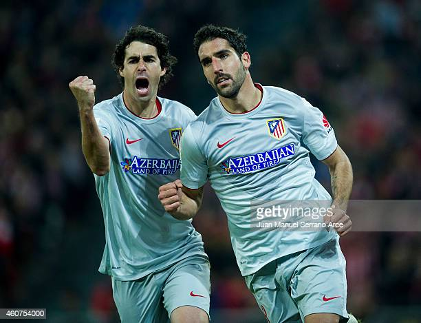 Raul Garcia of Atletico de Madrid celebrates after scoring during the La Liga match between Athletic Club de Bilbao and Club Atletico de Madrid at...