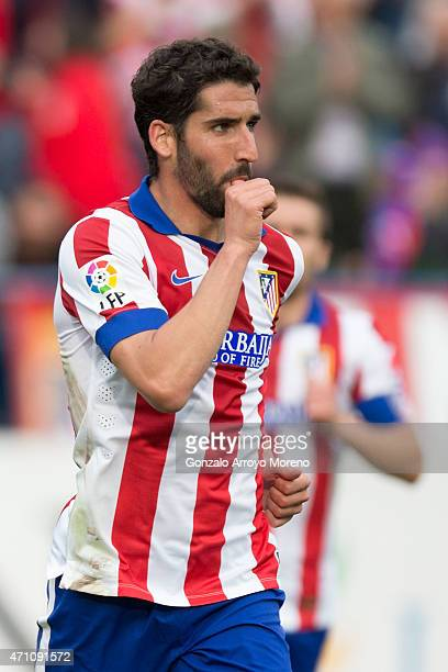 Raul Garcia of Atletico de Madrid celebrates scoring their second goal during the La Liga match between Club Atletico de Madrid and Elche FC at...