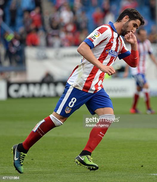Raul Garcia of Atletico Madrid celebrates his score during La Liga match between Club Atletico de Madrid and Elche at Vicente Calderon Stadium on...