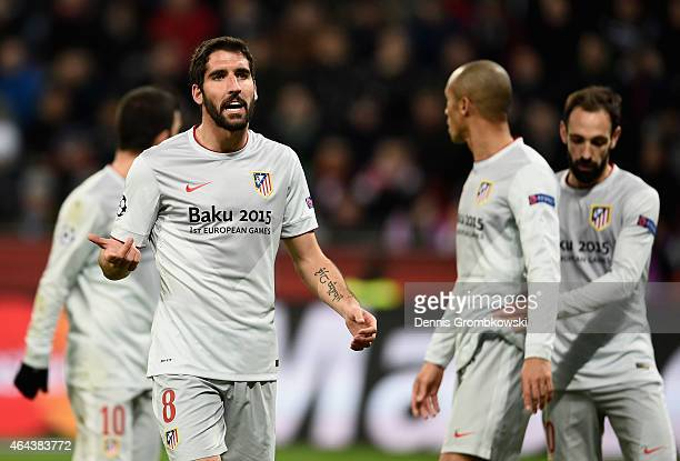 Raul Garcia of Atletico Madrid reacts during the UEFA Champions League round of 16 match between Bayer 04 Leverkusen and Club Atletico de Madrid at...