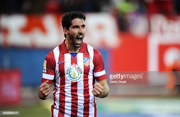 Raul Garcia of Club Atletico de Madrid celebrates after scoring Atletico's 2nd goal during the La Liga match between Club Atletico de Madrid and...