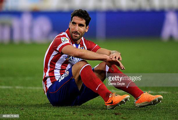 Raul Garcia of Club Atletico de Madrid reacts during the La Liga match between Club Atletico de Madrid and Sevilla FC at Vicente Calderon Stadium on...