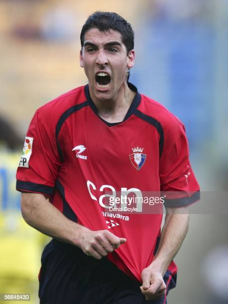 Raul Garcia of Osasuna celebrates after scoring a goal during a Primera Liga match at the Madrigal stadium on January 22 2006 in Castello de la Plana...