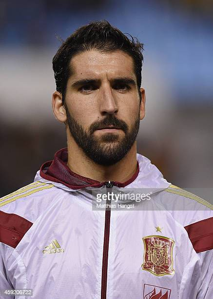 Raul Garcia of Spain looks on during the lineup for the International Friendly match between Spain and Germany at Estadio Balaidos on November 18...