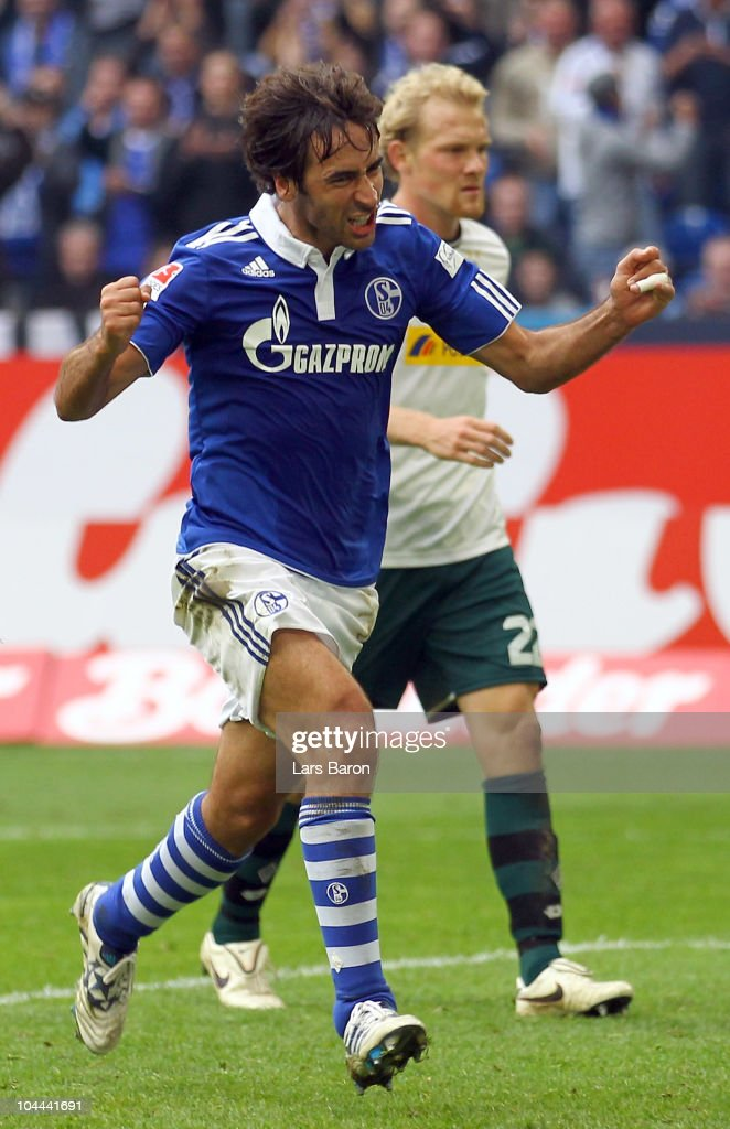 Raul Gonzales of Schalke celebrates after scoring his teams second goal during the Bundesliga match between FC Schalke 04 and Borussia...
