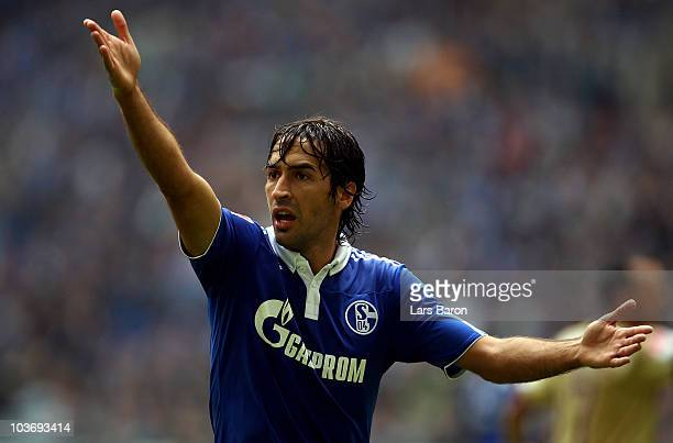 Raul Gonzales of Schalke gestures during the Bundesliga match between FC Schalke 04 and Hannover 96 at Veltins Arena on August 28 2010 in...