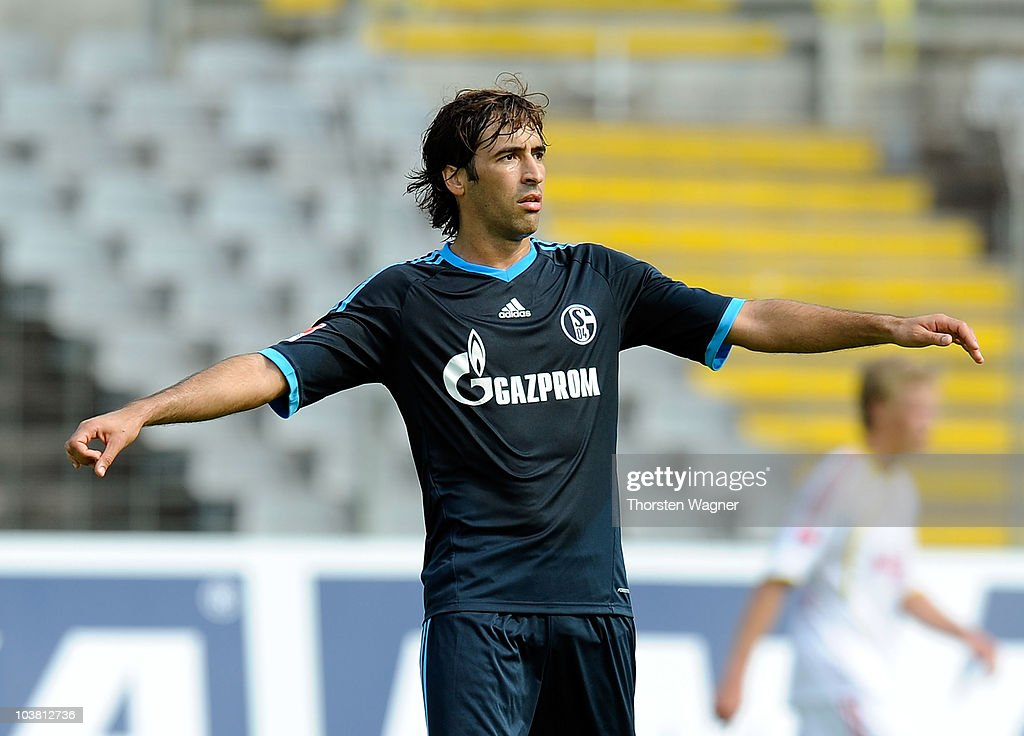 Raul Gonzales of Schalke gestures during the friendly match between FC Schalke 04 and Bayer 04 Leverkusen at stadium Am Zoo on September 3 2010 in...