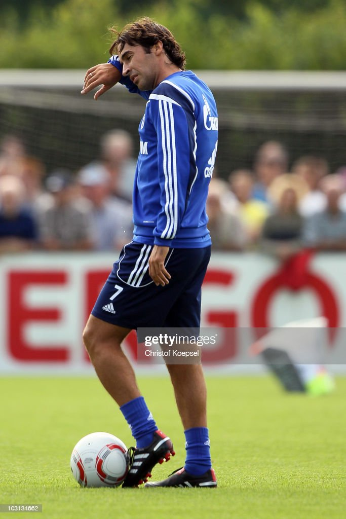 Raul Gonzalez attends the FC Schalke training session at the training ground on July 28 2010 in Gelsenkirchen Germany