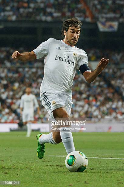 Raul Gonzalez Blanco ex player of of Real Madrid CF controls the ball during the Santiago Bernabeu Trophy match between Real Madrid CF and AlSadd at...