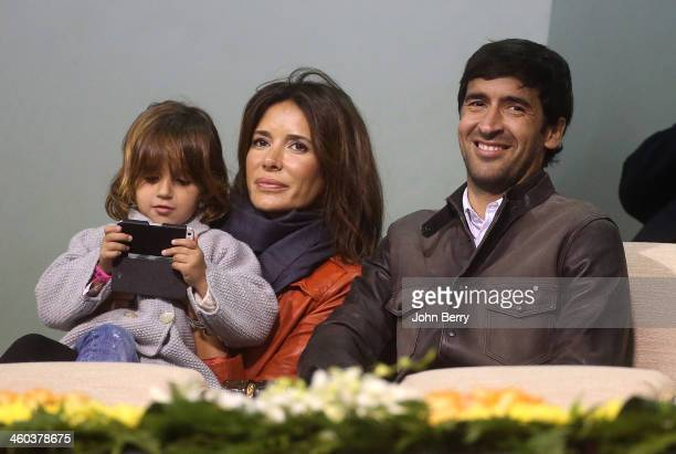 Raul Gonzalez Blanco his wife Mamen Sanz and their daughter Maria Gonzalez attend the semifinals of the Qatar ExxonMobil Open 2014 held at the...