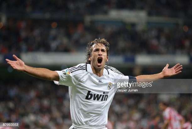 Raul Gonzalez celebrates scoring his second goal during the La Liga match between Real Madrid and Real Sporting de Gijon at the Santiago Bernabeu...