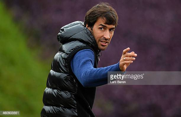 Raul Gonzalez former player of Real Madrid is seen during a training session at day 2 of the Bayern Muenchen training camp at ASPIRE Academy for...