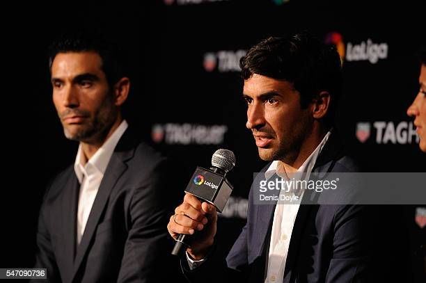 Raul Gonzalez former Real Madrid player and country manager of La Liga in the US answers questions beside former player Fernando Sanz during the...
