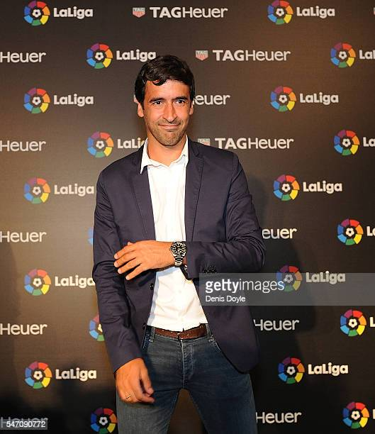 Raul Gonzalez former Real Madrid player and country manager of La Liga in the US poses for a photo before the start of the press conference to...