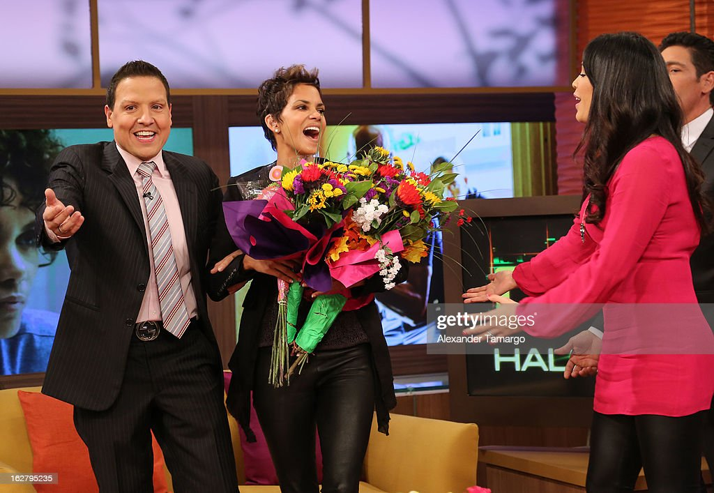 Raul Gonzalez, Halle Berry and Karla Martinez appear on Univision's Despierta America to promote her film 'The Call' at Univision Headquarters on February 27, 2013 in Miami, Florida.