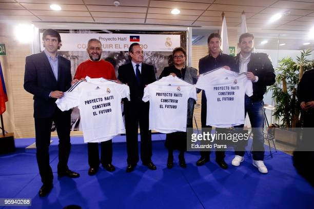 Raul Gonzalez Jose Miguel de Haro Florentino Perez Yolette AzorCharles Sergio Ramos and Iker Casillas attend fundraising for Haiti press conference...