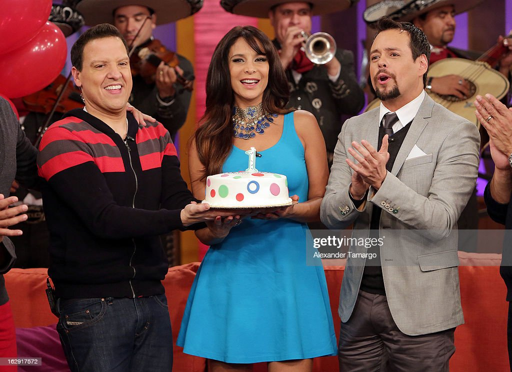 Raul Gonzalez, Lorena Rojas and Rodrigo Vidal celebrate Univision's Tlnovelas cable network first anniversary on Despierta America at Univision Headquarters on March 1, 2013 in Miami, Florida.