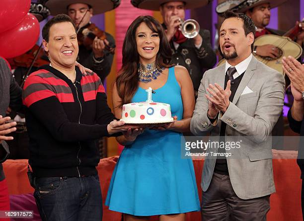 Raul Gonzalez Lorena Rojas and Rodrigo Vidal celebrate Univision's Tlnovelas cable network first anniversary on Despierta America at Univision...