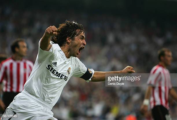 Raul Gonzalez of Real Madrid celebrates after scoring a goal against Athletic Bilbao during a Primera Liga soccer match between Real Madrid and...