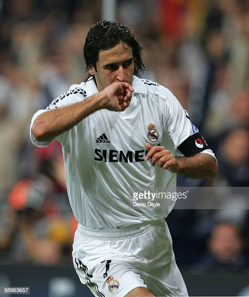 Raul Gonzalez of Real Madrid celebrates after scoring a goal during a UEFA Champions League group F match between Real Madrid and Rosenborg on...