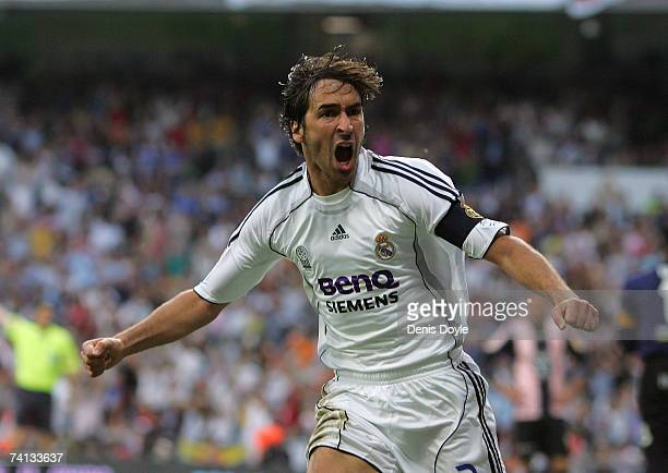 Raul Gonzalez of Real Madrid celebrates after scoring Real's 2nd goal during the Primera Liga match between Real Madrid and Espanyol at the Santiago...
