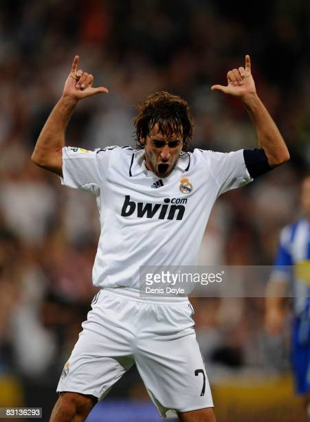 Raul Gonzalez of Real Madrid celebrates after scoring Real's 2nd goal during the La Liga match between Real Madrid and Espanol at the Santiago...