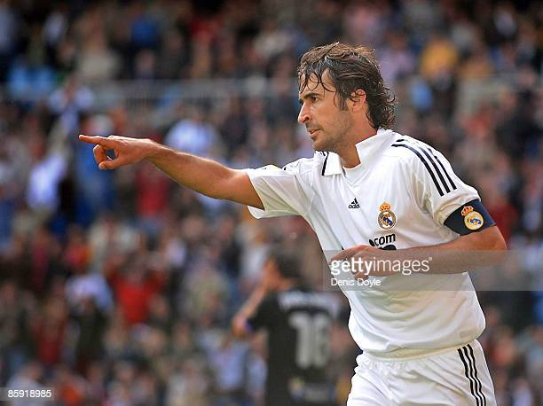 Raul Gonzalez of Real Madrid celebrates after scoring Real's first goal during the La Liga match between Real Madrid and Valladolid at the Santiago...