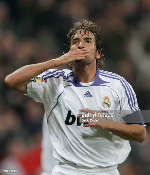 Raul Gonzalez of Real Madrid celebrates after scoring Real's second goal during the La Liga match between Real Madrid and Valladolid at the Santiago...