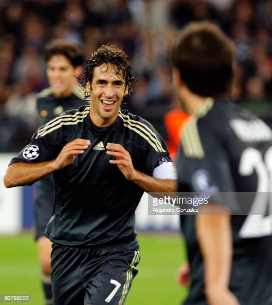 Raul Gonzalez of Real Madrid celebrates his 20 goal during the UEFA Champions League Group C match between FC Zurich and Real Madrid at Letzigrund...